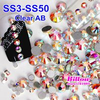 Wholesale SS3 SS50 Nail Art Rhinestone Crystal AB Glass Non Hot Fix Flat Back Rhinestones for Nails Phone DIY Decoration B2009