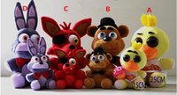 Wholesale FNAF Five Nights At Freddy s Plush Dolls CM CM Stuffed Animals Toys Doll Freddy Bonnie Chica Fox Pendant Keychain Dolls Kids Gifts