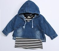 Cheap Coat Girl Children Jean Jacket Hooded T Shirt Best 1-6years old With Hood Toddler Denim Coat Striped Shirt Outwear