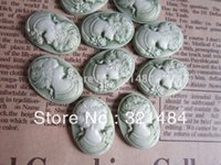 Wholesale Green x25mm vintage resin flat back beads lady cameo oval cabochon for bezel blank jewelry making FLC025