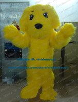 beijing mascots - Handsome Yellow Dog Puppy Pup Doggie Beijing Dog Poodle Pudel Mascot Costume Cartoon Character Mascotte Adult Long Fur ZZ376 FS