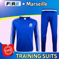 anti pants - 2016 Ligue Maillot de foot Marseille soccer training suits home blue black Survetement tracksuits Uniforms shirts long sleeve tights pants