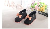 Wholesale DHL pairs Mini Melissa Jelly Children Rainboots Bow Kids Rain Wear fashion rainboots