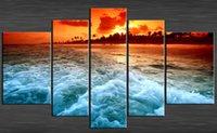 beach tech - Original US High tech HD Print Oil Painting Art On Canvas Sunset Beach panels set Unframed