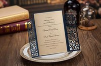 Wholesale Cheap dark royal blue laser cut wedding invitations cards hollow personalized Free print Engagement invitation card with envelope