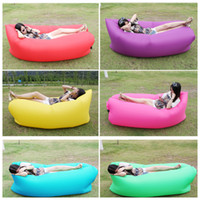 Wholesale single seal new fast inflatable air sofa bed colors banana lazy chair beach bed sofa couch sleeping bag