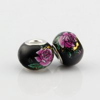big red rose - Hot New Rose Red Peony Black Glass Big Hole Beads Fit Charm Bracelets