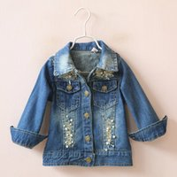 beaded jean jacket - little girls Denim Jacket Jean Beaded Broken Autumn New Children s Coat Children s Outwears Kid Clothing