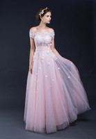 Wholesale 100 Real Picture In Stock Cap Sleeve A line Long Prom Dress Pink Tulle Appliques Elegant Evening Prom Party Designer Occasion Dresses
