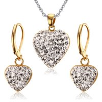 Wholesale Fashion Cubic Zirconia Heart Little Pendant Necklace Earrings Ladies Shinning Jewelry Sets Women Titanium Steel K Gold Plated Set