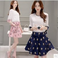 beautiful women short skirts - 2016 New Arrival Summer Style Woman Fashion Sets Sweet Half Sleeve Shirt Beautiful Annimal Patterns Skirt Lovely Monky Sets Modern Design