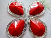 Wholesale 30 mm drop shape Red Silver AB colour big rhinestones Sew On stones resin crystal flatback strass