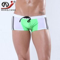 active swimwear - Men Swimwear Sexy High Quality Patchwork Fashion Mesh Knitted Quick Dry Big Sizes Men Boxers Swimsuit