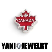 achat en gros de colliers feuille d'érable-DIY Canada Maple Leaf Flottant Charms Alloy Floating Médaillon Charms Pour collier pendentif Bracelet Living verre Médaillon