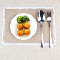Wholesale S M size Burlap Lace Placemat Jute Hessian Tableware Dinnerware Mat Table Coaster Vintage Wedding Decoration x inch