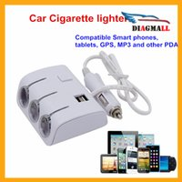 Wholesale Two Colors Optional Car Cigarette Lighter Power Adapter Socket Splitter For Mobli Phone MP3 Or Other Digital Products