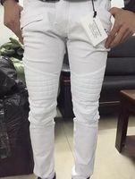 Wholesale Balmain Slim Moto JEANS White Denim Skinny Fit Tight Biker Jeans For Men US Size