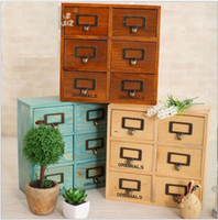 Wholesale 6pcs Drawers Size cm Quality Wooden Storage Organization Drawers Sundries Cosmetic Medicine Toys Storage Box Case Bins Cabinets