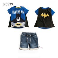 batman mantle - 2016 Hot kids cartoon batman t shirt mantle pants suits boys summer leisure cars sports clothing set children s cute clothes