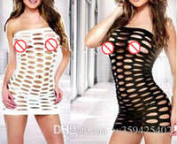 Wholesale Hot Sexy Lingerie Striped Hollow Fishnet Bodystocking clubwear Dress Costume with G String white black pink