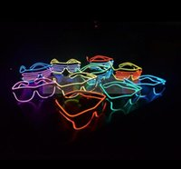 Wholesale Fashion EL Led glasses as Wedding Christmas Holiday Rave Costume Party Gift Bule Green Yellow Pink Red Purple Light