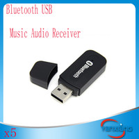 Wholesale Bluetooth USB A2DP Adapter Dongle Blutooth Music Audio Receiver Wireless Stereo mm for Car AUX Android IOS Mobile Phone YX JS