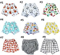 Wholesale INS Pineapple fruit cartoon fox Winnie Pooh infant cotton shorts summer baby casual elastic Harlan beach shorts boy clothes Plaid E268