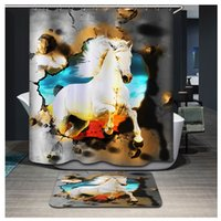 bath vessel - White Horse Eagle Vessel Snow Leopard Stamp Shower Curtains D Digital Print Bathroom Curtain Waterproof Polyester Shower Bath Curtain