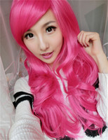 big pink rose - Cosplay wig long rose red wig girls big wave wigs for womens heat resistant party curly synthetic wigs