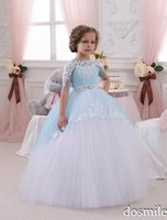 baby frocks - 2016 Light Blue Princess Sheer Lace Flower Girl Dresses Pageant baby party frocks for girl Birthday wedding party Ball Gown