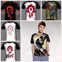 adult fighting games - Adult T shirts Fight For The Alliance Gamer cartoon anime Game Horde Symbol Fashion Short Sleeve Tops Tee LJJO41