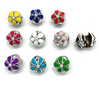 Wholesale Brand new mix color flower design big hole antique silver clip stopper loose beads fit European bracelet jewelry DIY