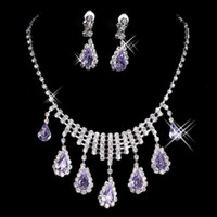 Wholesale 2016 nen Fashionable Hot Sale Rhinestone Set Earrings Necklace Cheap New Arrival Wedding Jewelry Accessories