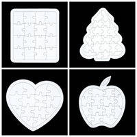 Wholesale 10pcs heart rectangle apple Christmas tree pentagram Blanked puzzle for children painting Christmas gift