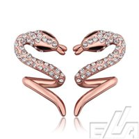 best friends jewelery - New fashion jewelry k real yellow rose gold plated stud earring fine jewelry Snake animal indian jewelery for best friend