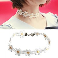 beautiful flower tattoos - Yellow White Fashion Daisy Flower Choker Chain Necklace Bracelet Headband Boho Beautiful Tattoo Choker Necklace