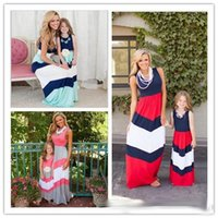 Wholesale 2016 New Mother And Daughter Dresses Summer Navy Style Striped Long Dress Fashion Mom And Baby Clothing Sleeveless Vest Stitching Dress