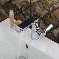 Wholesale HELLO Bathroom Basin Sink Faucet Deck Mount Single Handle Vessel Sink Mixer Tap Digital Number Display Washbasin Faucet torneira