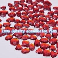 art element shape - Mixed size mixed shape pack loose rhinestone flat back Red acryl shoes rhinestones Nail Art Rhinestones