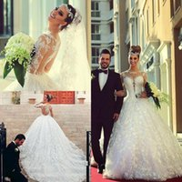 Wholesale 2017 Arabic custom made Lace Wedding Dresses Long Sleeves Sheer crew Neck A Line Cathedral Train Ball Gown Brazilian Bridal Gowns