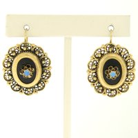 art diamond earrings - Antique Art Deco k Yellow Gold Open Work Framed Oval Onyx Opal Drop Earrings