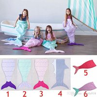 Wholesale Kids Mermaid Tail embroidered Sleeping Bags Mermaid Tail Shark Blankets Cocoon Mattress Sofa Bedroom Blankets Camping Travel Blankets E1119
