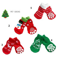 anti slip socks for dogs - Hot pet dog cat warm socks for winter Cute Puppy Dogs Soft Cotton Anti slip Knit Weave Sock Skid Bottom Dog cat Socks Clothes set