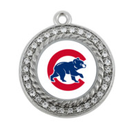 baseball antiques - NEW Baseball Chicago Cubs SPORT team charm antique silver plated crystal jewelry