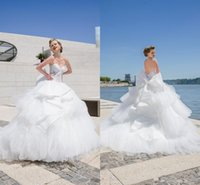 ball ends - High end Couture Wedding dresses With White Sweetheart Sleeveless Open Back Applique Bow Sash Sweep Train Bridal Gown