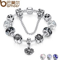 Wholesale 4 Colors Silver Heart Charm Fit Pan Bracelet Silver with Safety Chain Black Beads Bracelet Authentic Jewelry PA1435