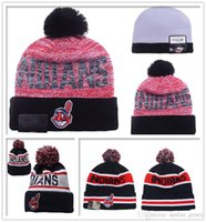 arrival sports beach - New Arrival Cleveland Indians Beanie Pom Basball Knit Hats Sport Beanies For Men and Women Knitted Skullies Warm Outdoor Caps
