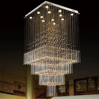 Wholesale Modern K9 Crystal Chandelier Square LED Pendant Light Luxurious Fashion Stairs Lamp Living Room Lighting LED
