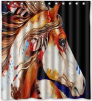 Wholesale 160 W x180 H cm Spirit Indian War Horse The Gift Shower Curtain New Waterproof Polyester Fabric Bath Curtain