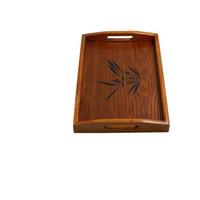 Wholesale Solid wood Dark brown plate Japan Tea tray Continental Tea set Household utensils Lug Wooden pallets kitchen tableware